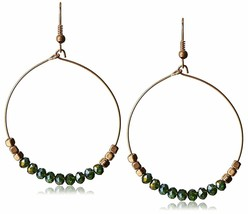 "USA Made Gemelli Gold Plated Green Crystal Glitter 1.5"" Hoop Earrings NWT"