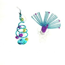 """Peacock Inspired Christmas 5"""" Ornaments 2 Piece Lot Clip On Bird & Bell ... - $14.98"""