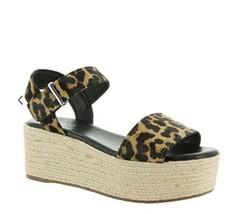 Franco Sarto Calf Hair Oak Leopard Platform Sandals Size 8 Womens Espadr... - $44.54