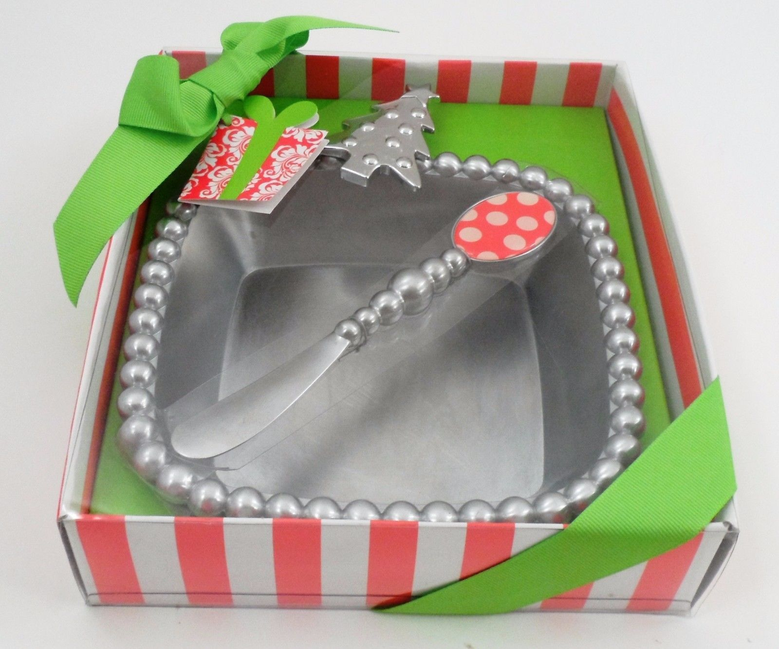 MIB New 2010 Mud Pie Metal Whimsical Christmas Tree Dip Cup & Polka Dot Spreader