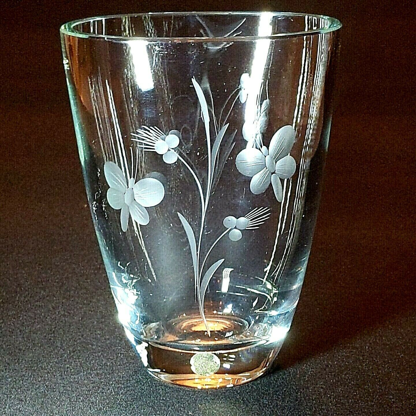 Primary image for 1 (One) KOSTA BODA VINTAGE Heavy Crystal Vase Etched Flowers & Butterflies M210
