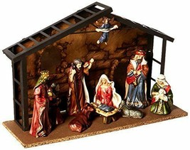 "Kurt S. Adler 10 Piece Nativity Set 9 Porcelain Figurines 3.5-5"" & Metal Stable - $78.88"
