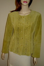 J.JILL Lemongrass Green Sueded Leather Jacket w/ Floral Eyelets (S) - $29.30
