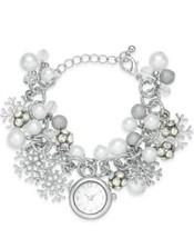Charter Club Silver-Tone Snowflake Timepiece Charm Bracelet – Silver - $24.90