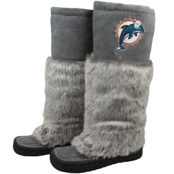 Primary image for NFL Football Miami Dolphins Devotee Boots Knee-High Faux Fur Gray Ladies Size 6
