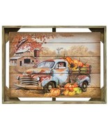 Happy Fall hanging picture Old Farm Truck w/pumpkins wooden frame Autumn... - $59.39