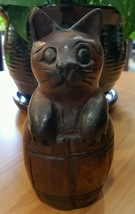 Vintage Handcrafted Wood Cat In a Barrell Figurine - $27.09
