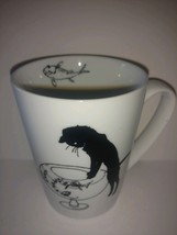 Coffee mug cat  looking over fish bowl 2010 GREAT GIFT - $22.76