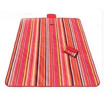 Picnic Blanket with Waterproof Red Stripes Great for The Beach,Camping o... - £23.98 GBP