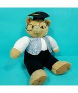 Hallmark Graduation Brown Kitty Cat Jeans Jacket Glasses Stuffed Animal ... - $18.80