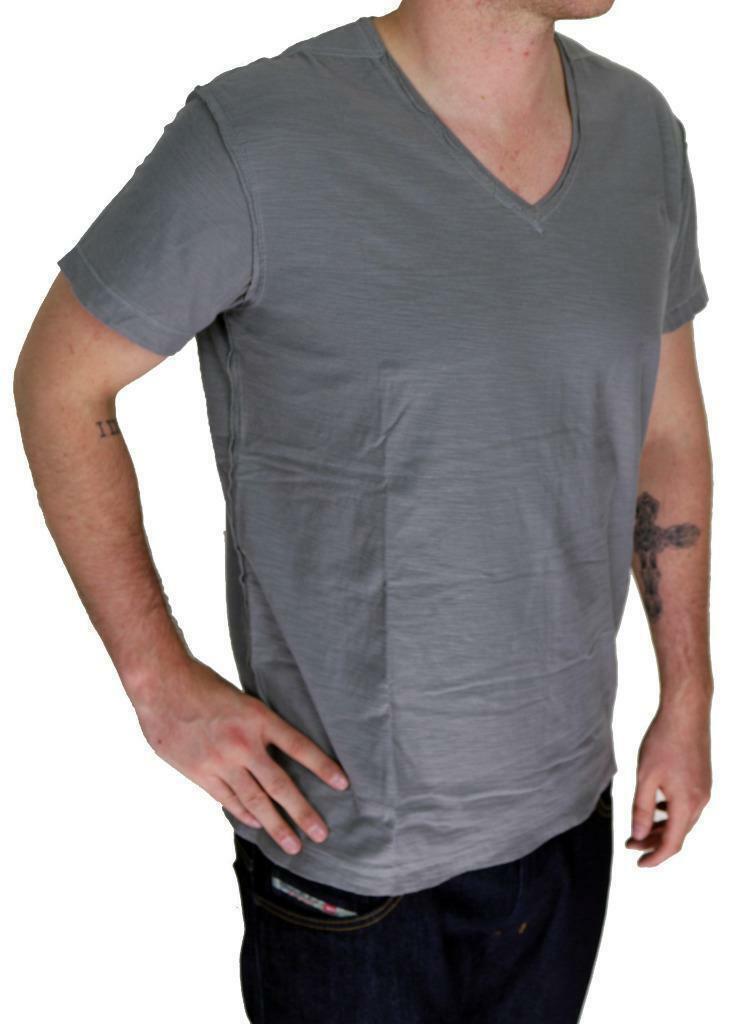 NEW DIESEL MEN'S PREMIUM COTTON GRAPHIC V-NECK SHIRT T-SHIRT T-TOSSIK DARK GREY