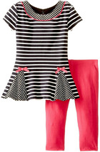 Rare Editions Baby Girl 3M-24M Dots And Stripes Knit Dress/Legging Set