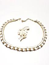 Crown Trifari White beads vintage set choker necklace pin brooch White Enamel   - $44.99