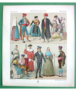 SPAIN Costume of Catalania Aragonia - COLOR Litho Antiqe Print  A. RACINET - $9.45