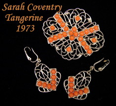 Vintage Brooch & Earrings Sarah Coventry TANGERINE From 1973 - $18.95