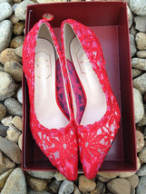 Blush Lace Wedding/bridal low heel,red kitten heeled shoes,red glitter pumps  - $49.99