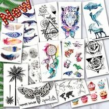 Waterproof Temporary Tattoos ocean feather Wave Mountain flash glitte Tattoo sti - $20.79