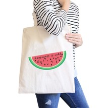 Happiness Is Cold Watermelon Cute Eco-Friendly Canvas Shoulder Tote - $15.99