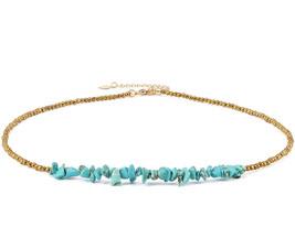 Turquoise Bar Necklace Choker Gold Hematite Beaded Tiny Dainty Minimalis... - $48.53