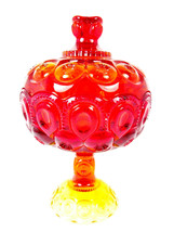 LE Smith Ruby Red Moon & Stars Glass Footed Compote Candy Dish Lidded   - $40.58