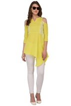 Tunics for women Moss Tunics Crepe Lime Green Cold Shoulder top Christmas gifts image 4