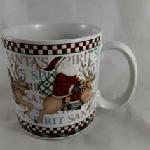 Debbie Mumm Santa's Spirit Coffee Mug Cup Sakura Oneida Santa Claus on Reindeer - $9.89