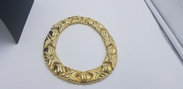 """Vintage Signed Givenchy Thick Geometric Design Gold Tone Choker 1"""" Wide ... - $266.75"""