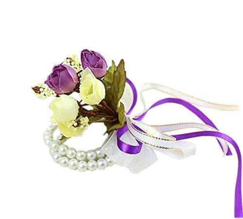 1 Pair Of Purple And White Rose Beads Beach Bracelets Lace Bracelets Jewelry