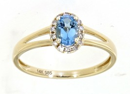 0.61 Carat Swiss Blue Topaz Gemstone Real Diamond Halo Ring 14K Yellow Gold - $691.00