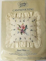 Something Special Candlewicking Embroidery Floral Pillow Kit style 80144 Lacy  - $16.82