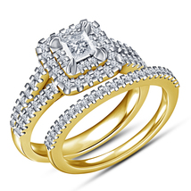 Princess Cut Diamond Womens Bridal Ring Set 14k Gold Finish 925 Sterling... - $91.99