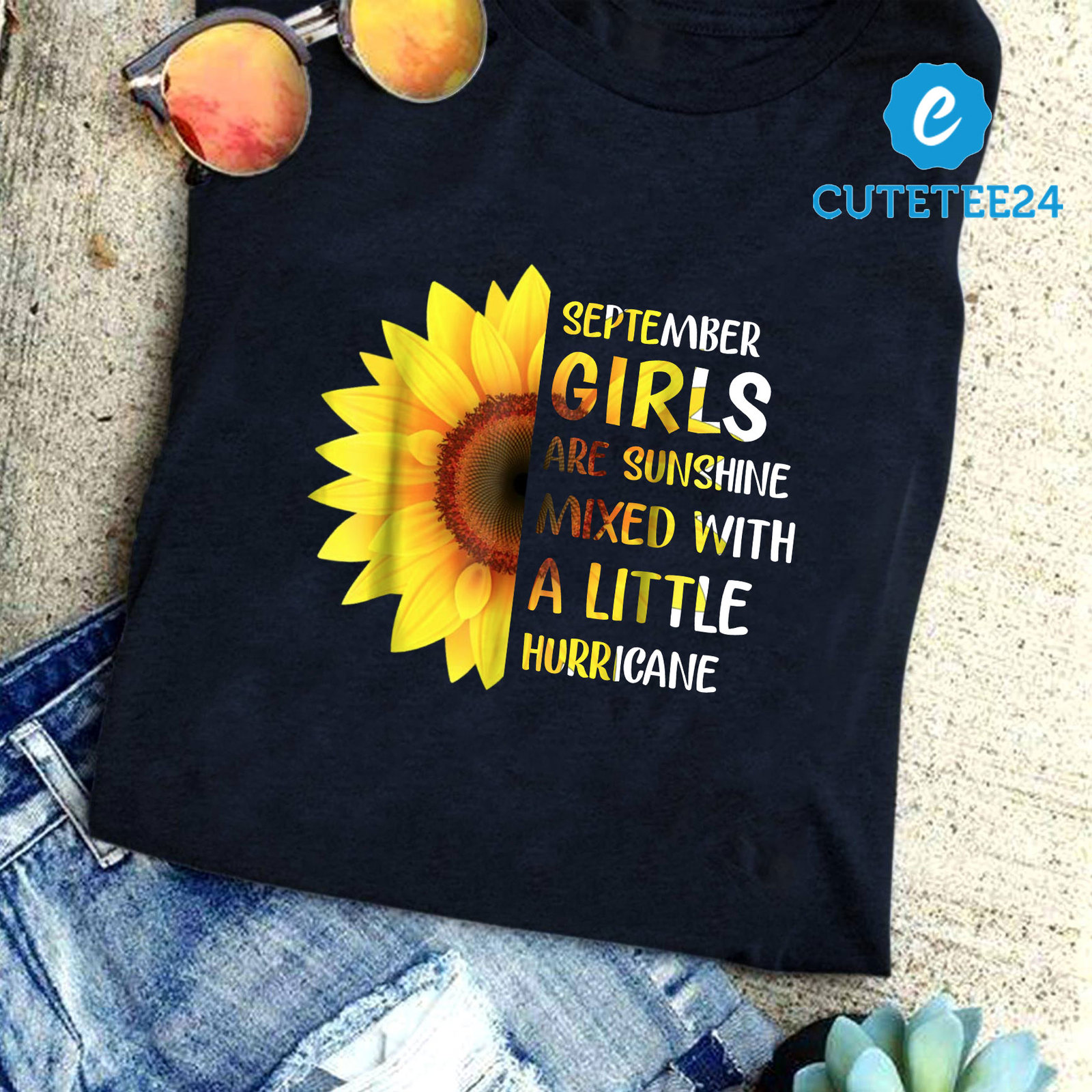 Primary image for September Girls Are Sunshine Mixed With A Little Hurricane Sunflower Shirt
