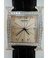 Hermes HH1.830 Diamonds Stainless Steele Watch 34mm Alligator strap Bare... - $9,395.00