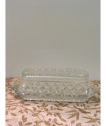 Vintage Anchor Hocking Wexford Pattern Clear  covered Butter Dish  - $11.00