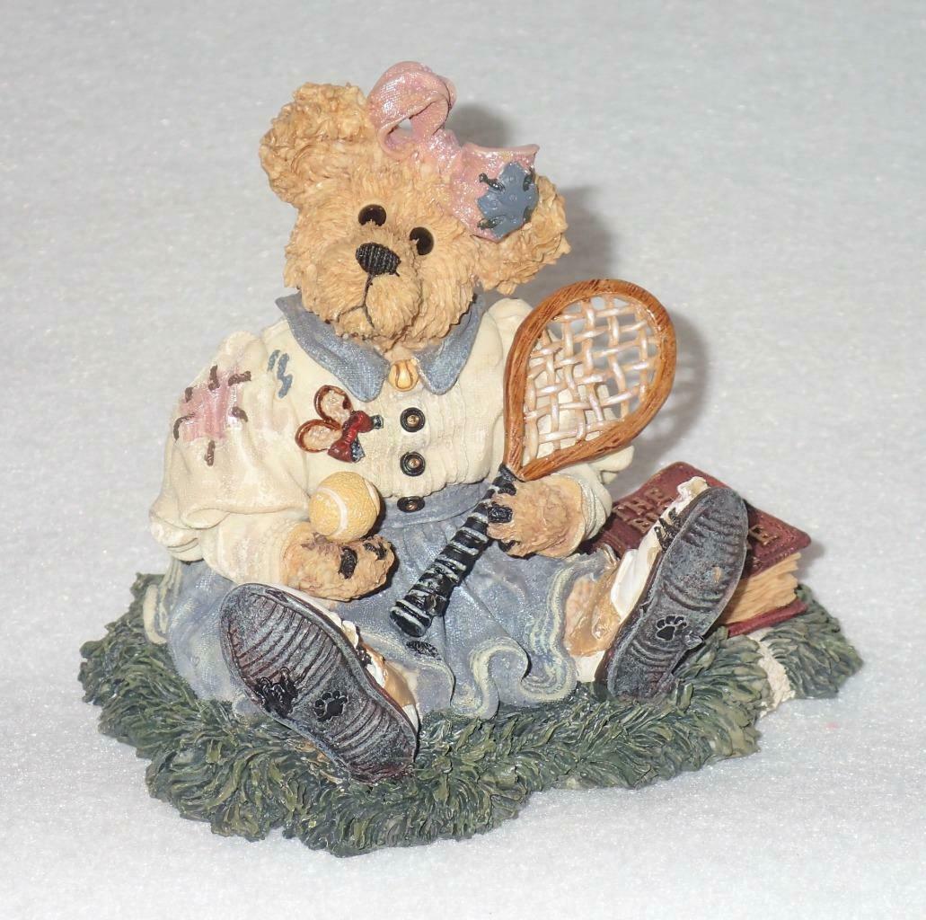 Boyd Bearstone Resin Bears Chrissie Game Set Match Tennis Figurine #227717 6E