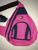 Vintage Tommy Hilfiger Backpack Adjustable Strap Multiple Pockets Pink  - $36.25 CAD