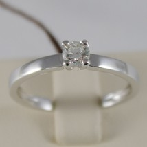 18K WHITE GOLD SOLITAIRE WEDDING BAND SQUARED RING DIAMOND 0.27 MADE IN ITALY image 1