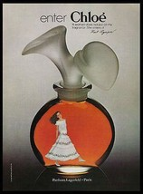 CHLOE Perfume Lagerfeld Paris 1981 Bottle Photo Ad - $14.99