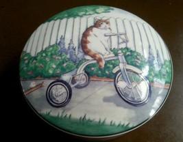Cycle Cat Vanity Box Studio Nova Round Porcelain Tricycle Cats Flowers U... - $30.00