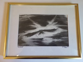 Framed Original Charcoal Drawing - Night Hunter -  B R Foster - Owl Flyi... - $24.11