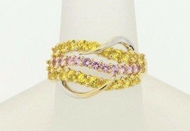 Art Nouveau Style GTR 14K Yellow White Gold HOT Pink Yellow Sapphire Rin... - $470.00