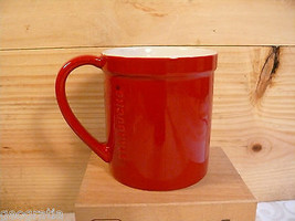 STARBUCKS Red Embossed Raised Letters Rim Lip 16 fl oz 2012 Coffee Mug - $19.10
