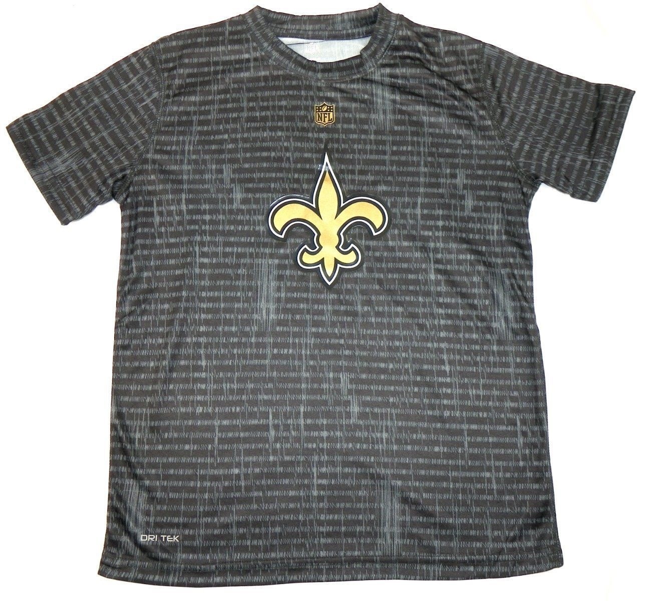 New Orleans Saints Boy's 8-18 Shirt NFL Resounding Short Sleeve Dri Tek Tee