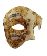 Gold Venetian Phantom Half Fancy Mask Adult Men Women Musical Notes Opera - $16.97