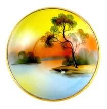 Vtg Noritake Green M Morimura Mark Hand Painted Serving Bowl Swan on Lak... - $96.89