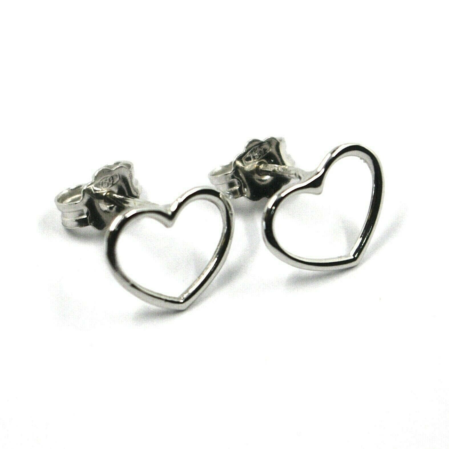 18K WHITE GOLD BUTTON EARRINGS, MINI 10mm HEARTS, BUTTERFLY CLOSURE