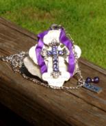 Shrine Cross Pendant, Purple Rhinestones, Pray Fob, Long Figaro Chain - $0.44