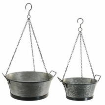 Set of 2 Hanging Planters Bucket Style Pots with Metal Chain Hanger Gard... - $64.95