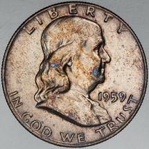 1959-P FRANKLIN SILVER HALF DOLLAR VIVID LIGHT COLOR TONED APPEAL BU UNC... - $197.99