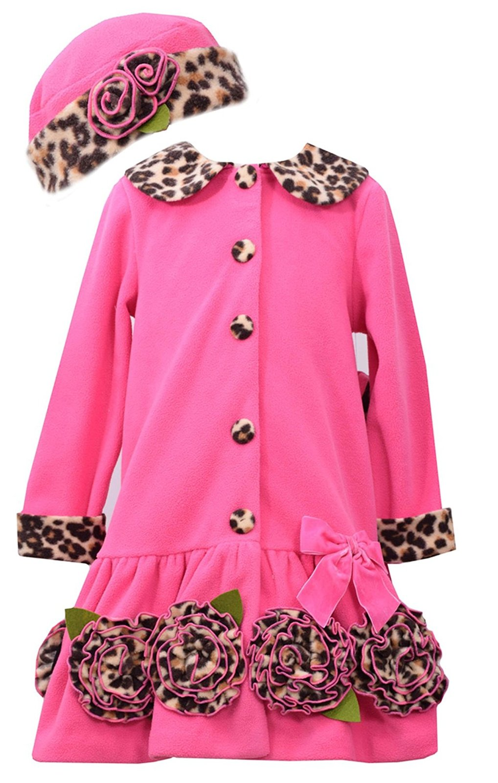 Bonnie Jean Little Girls 4-6X Fuchsia Bonaz Rosette Border Fleece Coat/Hat Set